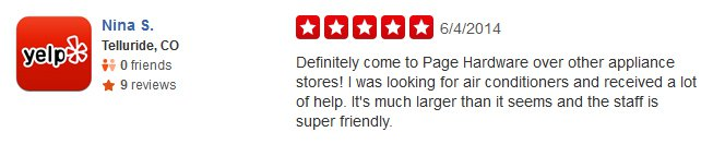Testimonial from our customer, Nina S., on Yelp