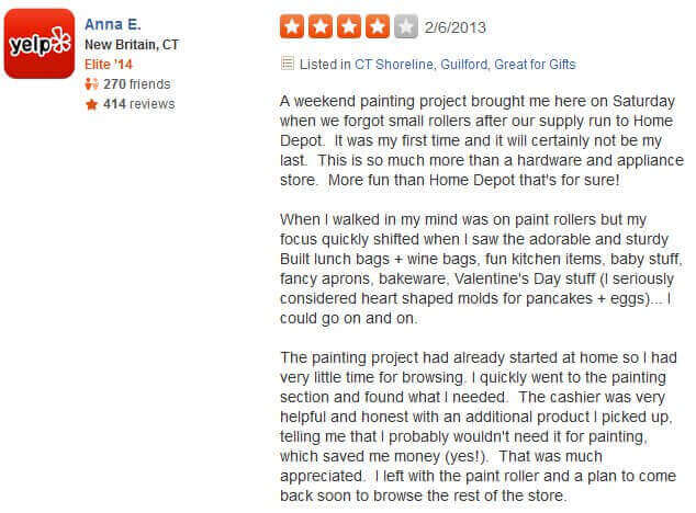 Testimonial from our customer, Anne E., on Yelp