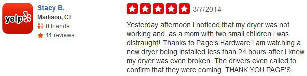Testimonial from our customer, Stacy B., on Yelp