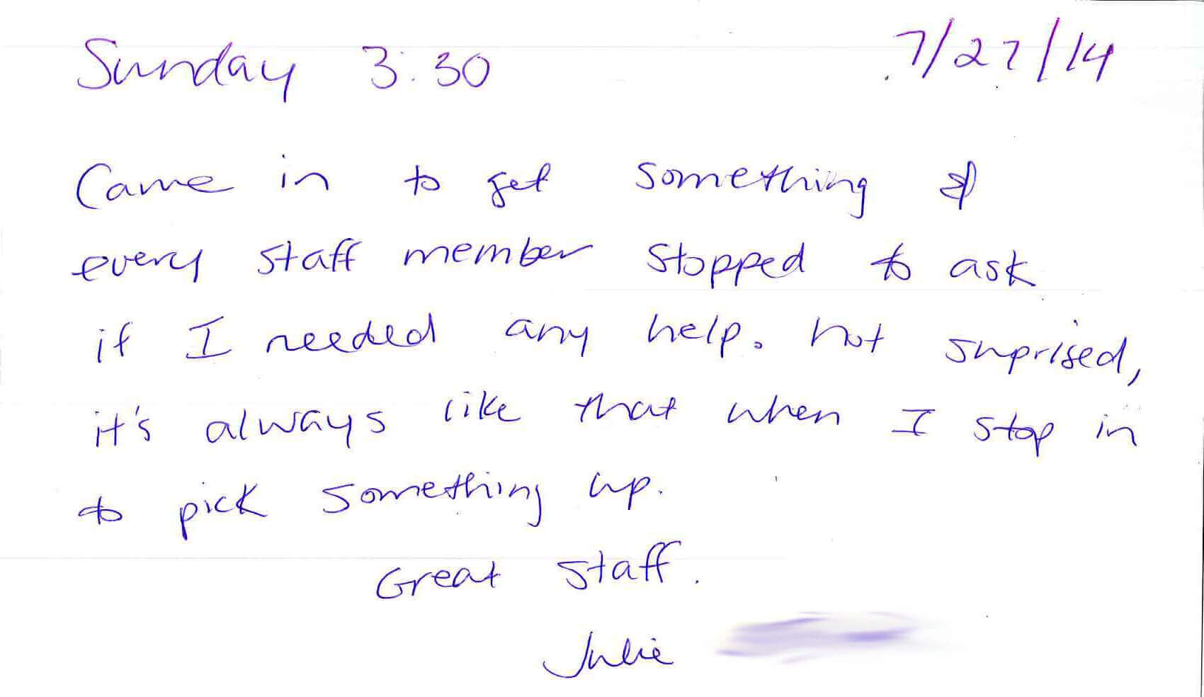Testimonial from our customer, Julie